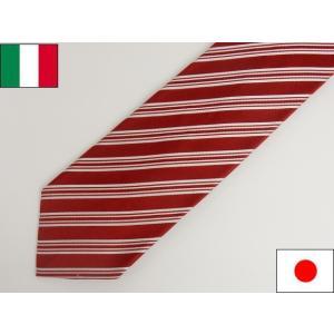 ストライプ イタリー生地 Classico Seta社 日本縫製 ネクタイ 赤 シルク100% |dxksm466