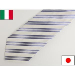 ネクタイ イタリー生地 Classico Seta社 日本縫製 パール白 ストライプ シルク100% |dxksm466