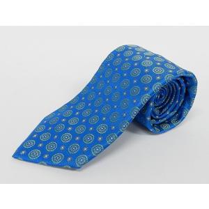 イタリー生地 Classico Seta社 日本縫製 ネクタイ コバルトブルー 小紋 シルク100% GUM20|dxksm466