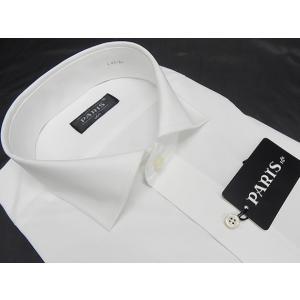白シャツ 長袖 形態安定 ワイドカラー PARIS-16e カッターシャツ M-3L HKW003|dxksm466