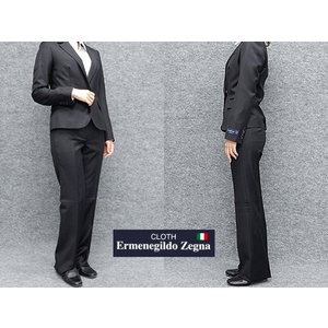 レディーススーツ イタリー生地 E.zegna 1ボタン 黒 毛100% [7号 9号 11号 13号] 通年対応 パンツスーツ 就活 リクルート|dxksm466