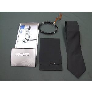 礼装 葬祭4点セット 数珠 黒ネクタイ 喪章 香典袋|dxksm466