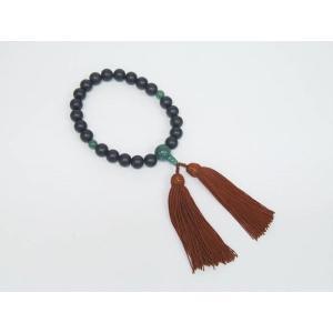 礼装 数珠 念珠 黒檀 22玉 インド翡翠 男性用  |dxksm466
