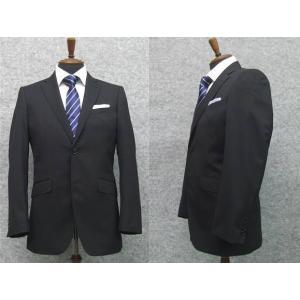 スーツ 通年物 スタイリッシュ2ボタン 黒縞 洗えるスラック...