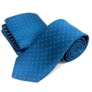ドット柄ネクタイ ポケットチーフ付 青緑 甲州織 日本製 ポリエステル100% メール便可 FP KOJI YAMAMOTO KJD08 dxksm466