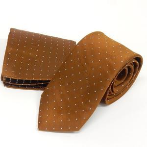 ドット柄ネクタイ ポケットチーフ付 金茶 甲州織 日本製 ポリエステル100% メール便可 FP KOJI YAMAMOTO KJD15 dxksm466