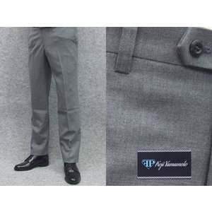 ビジネスパンツ スリムノータック スラックス 秋冬物 日本製 薄グレー 無地 FP KOJI YAMAMOTO|dxksm466