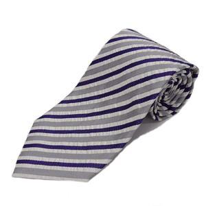 京都産 ネクタイ シルク100% 紫×白×グレー/サッカー織ストライプ KYOTO VINTAGE メール便OK KVS02|dxksm466
