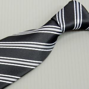 モーニング用ネクタイ 黒系縞 甲州織 日本製 ポリエステル100% メール便