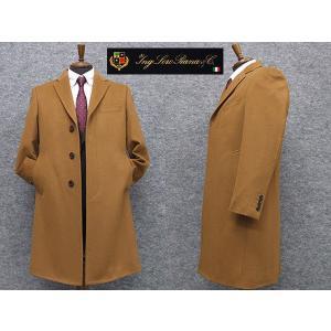秋冬物 日本製 [ロロピアーナ] カシミヤ100% シングルチェスターコート [YA体〜AB体]対応 スタイリッシュタイプ キャメル メンズ LO-coat44|dxksm466