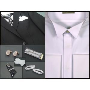 正式モーニング用シャツ ディレクターズスーツ兼用 ウイングシャツ 縞ネクタイ 備品8点フルセット|dxksm466