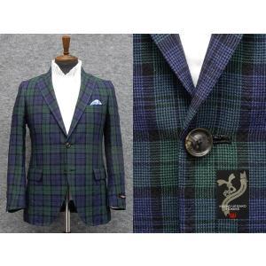 ジャケット 春夏物 ミエコウエサコ スタイリッシュ2ボタン シングルジャケット 麻混 紺×緑×黒チェック|dxksm466