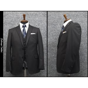 秋冬物 3ピース スタイリッシュ2釦シングルスーツ 黒縞 ストレッチ素材 [AB体] DEER メンズスーツ N1204 dxksm466