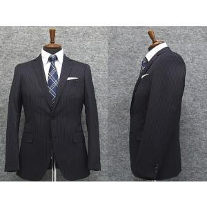 スタイリッシュ2釦スーツ 紺系 ストライプ [YA体][AB体] 秋冬物 総裏地 メンズスーツ|dxksm466