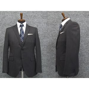 スタイリッシュ2釦スーツ グレー系 ストライプ [A体][AB体] 秋冬物 総裏地 メンズスーツ|dxksm466