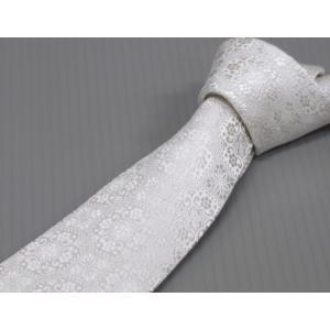 西陣織 フォーマルネクタイ 白銀×銀糸 更紗模様 シルク100% 日本製|dxksm466