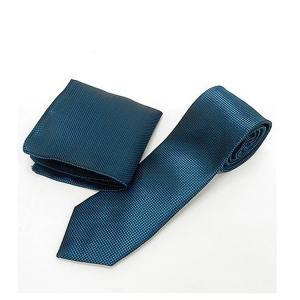 スリムネクタイ ポケットチーフ付 青緑 小市松 甲州織 日本製 ポリエステル100% ナロータイ メール便可 NRB03|dxksm466