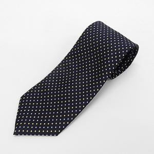 日本製ネクタイ 洗濯機OK 黒紺×黄×銀 籠織+ドット 甲州織 メール便OK