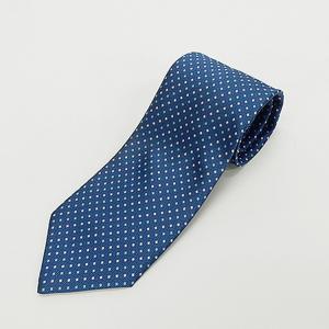 日本製ネクタイ 洗濯機OK ブルー×緑銀×銀 籠織+ドット 甲州織 メール便OK
