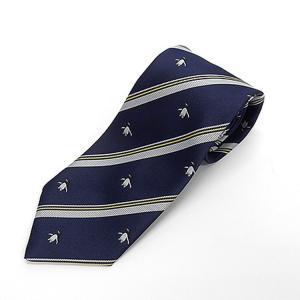 日本製ネクタイ 洗濯機OK 紺×銀×金 ペンギン ストライプ 甲州織 メール便OK