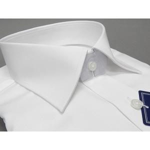 ワイシャツ「超形態安定」 白 綿100%  セミワイド ドレスシャツ ORT01|dxksm466