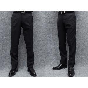 薄手素材 スリムノータック スラックス クールビズ ビジネスパンツ 黒縞 W73〜97cm OS38190-1|dxksm466