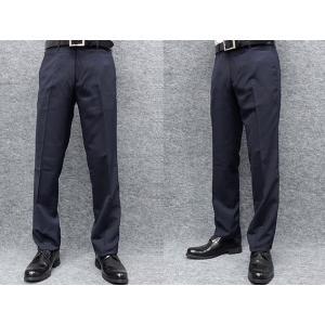 薄手素材 スリムノータック スラックス クールビズ ビジネスパンツ 紺縞 W73〜97cm OS38190-2|dxksm466