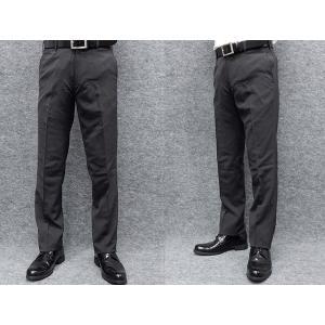 薄手素材 スリムノータック スラックス クールビズ ビジネスパンツ 濃グレー縞 W73〜97cm OS38190-3|dxksm466
