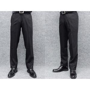 ウールタッチ素材 スリムノータック スラックス 黒/ストライプ 秋冬物 ビジネスパンツ W79〜94cm OS39200-1|dxksm466