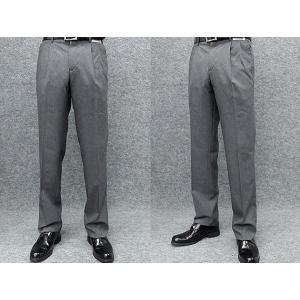 春夏物 2タック「美脚」スラックス 杢グレー 無地調 ウォッシャブル ビジネスパンツ 76cm-94cm|dxksm466