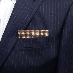 イタリー生地使用 ポケットチーフ シルク100% 小格子 茶×白 PCI1-BR メール便可|dxksm466