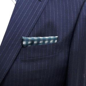 イタリー生地使用 ポケットチーフ シルク100% 小格子 緑×白 PCI1-GN メール便可|dxksm466