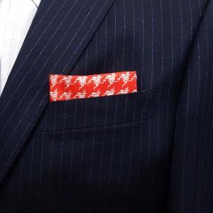 イタリー生地使用 ポケットチーフ 千鳥格子 赤×白 PCI2-RD メール便可|dxksm466