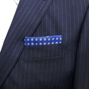 イタリー生地使用 ポケットチーフ 花小紋 青×白 PCI3-BL メール便可|dxksm466