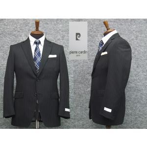 スーツ ピエール・カルダン セミスタイリッシュ2ボタン シングルスーツ 黒系ストライプ|dxksm466