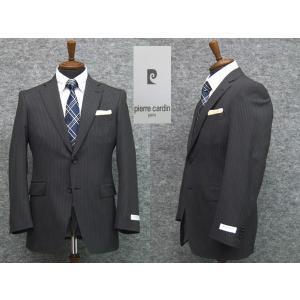スーツ ピエール・カルダン セミスタイリッシュ2ボタン シングルスーツ 濃グレー ストライプ|dxksm466