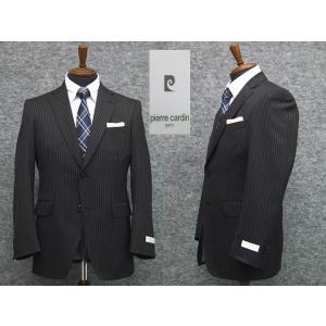 スーツ ピエール・カルダン セミスタイリッシュ2ボタン シングルスーツ 黒茶ストライプ|dxksm466