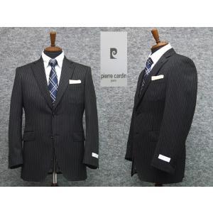 スーツ ピエール・カルダン セミスタイリッシュ2ボタン シングルスーツ 黒ストライプ|dxksm466