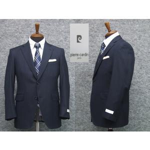 スーツ ピエール・カルダン セミスタイリッシュ2ボタン シングルスーツ 紺系ストライプ|dxksm466