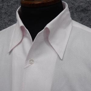 フォーマル&ビジネスシャツ 長袖 ライトピンク/ワッフル調 スキッパー スナップダウン ドレスシャツ 日本製 R5369605|dxksm466
