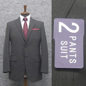 春夏物 2パンツスーツ ベーシック2釦スーツ グレー/ストライプ [A体] RG211105C|dxksm466