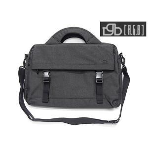 [RGB]アールジービー ビジネスバッグ ブリーフケース 炭黒 布素材 フラップポケット付|dxksm466