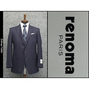 [renoma] レノマPARIS 秋冬物 セミミルド シルク混 ベーシック2釦シングルスーツ 紺縞[AB体]|dxksm466