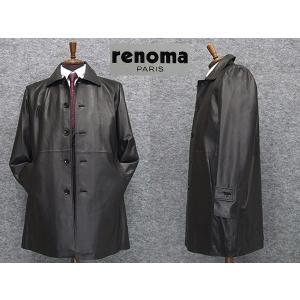 [renoma] レノマPARIS レザーコート ラム革 ステンカラーコート[A体〜AB体対応]  黒系 イタリアンレザー RMK700 メンズ|dxksm466