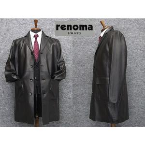 [renoma] レノマPARIS レザーコート ラム革 シングルチェスターコート[A体〜AB体対応]  黒系 イタリアンレザー RMK701 メンズ|dxksm466