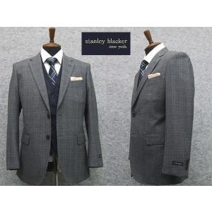 スリーピーススーツ STANLEY BLACKER スタンリーブラッカー ベーシック2ボタンシングルスーツ グレー系窓枠格子 3ピース|dxksm466
