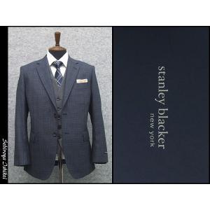 スリーピーススーツ スタンリーブラッカー ベーシック2ボタン シングルスーツ 藍紺系窓格子|dxksm466