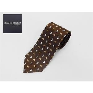 stanley blacker(スタンリー ブラッカー) ネクタイ 日本製 茶系 ペイズリー柄 シルク100% レップタイ メール便可|dxksm466