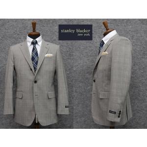 段返り3釦スーツ STANLEY BLACKER スタンリーブラッカー ベーシック シングルスーツ ストレッチ グレンチェック ブランドスーツ|dxksm466