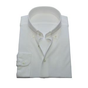 ニットシャツ【SHIRTSBAR】 白 綿100% 60番双糸 強撚SZ天竺 ボタンダウン スカイコット加工 ワイシャツ ドレスシャツ スリム|dxksm466